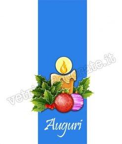 adesivo con pendente azzurro e candela con palle di natale