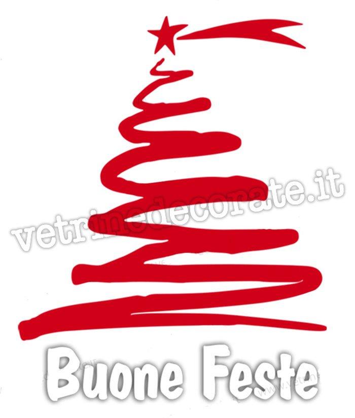 Albero Di Natale Stilizzato.Albero Di Natale A Spirale Rosso E Scritta Buone Feste In Adesivo Intagliato