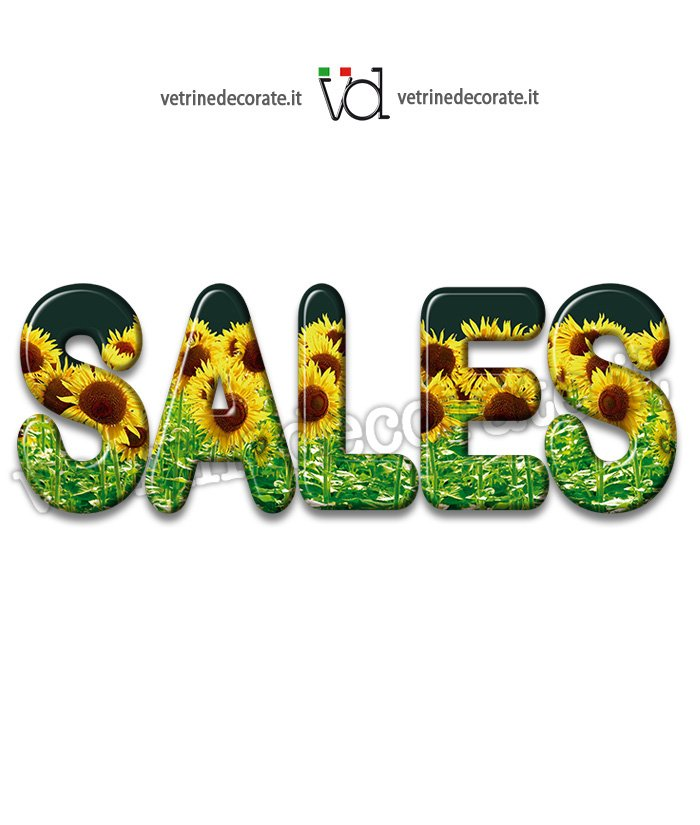 Sales Text Filled With A Sunflower Field
