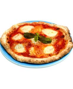 Pizza tonda margherita su piatto