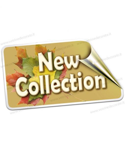 etichetta con scritta new collection su foglie autunnali