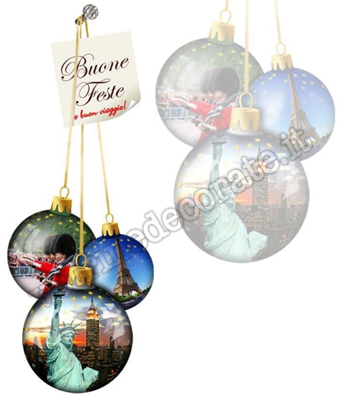 Immagini Palline Natalizie.Palle Di Natale Con Immagini Di Londra Parigi E New York