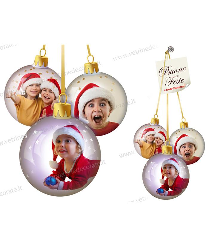 palle di natale con immagini di bambini