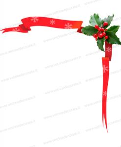 Nastri rossi natalizi con foglie di agrifoglio - Nastri decorativi natalizi ...