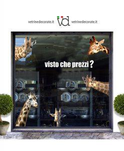 vetrina con cinque giraffe che sporgono dai lati della vetrina