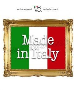 adesivo quadro tricolore con scritta Made in Italy