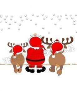 adesivo con babbo-natale-e-due-renne-sedute-sulla-neve