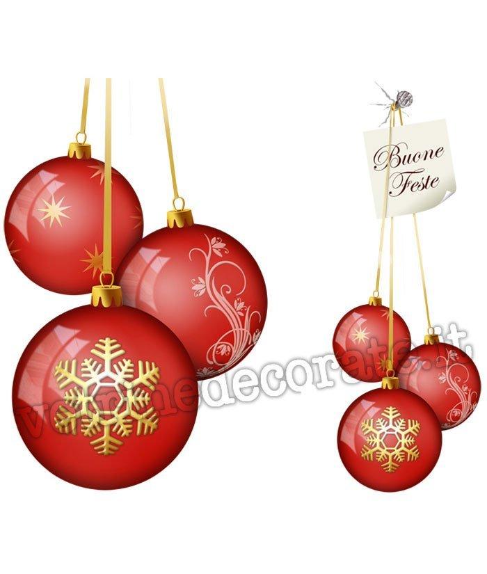 Palle Di Natale.425 Tre Palle Di Natale Rosse Decorate