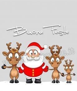 adesivo babbo natale con due renne sulla neve