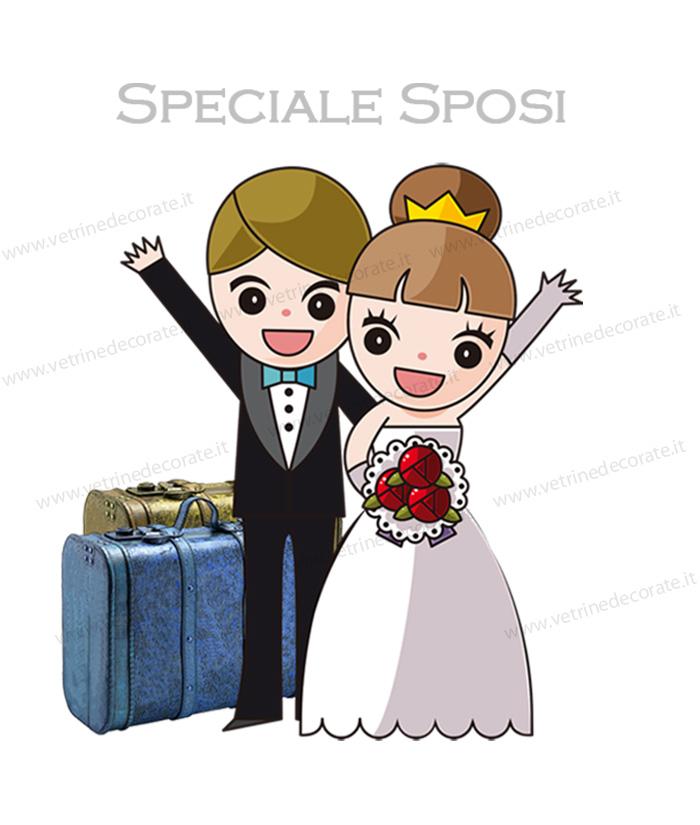 Super Coppia di giovani sposi con due valigie RZ41