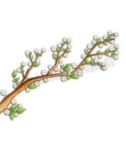 vetrofania ramo con fiori e foglie