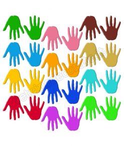 vetrofania impronte mani colorate