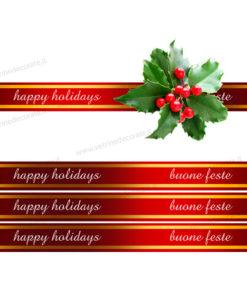 Nastro rosso natalizio e agrifoglio - Nastri decorativi natalizi ...