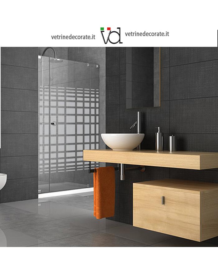 Box doccia con decorazione in vinile sabbiato adesivi e for Adesivi per box doccia