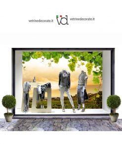 vetrina con Fondale con panorama con filari di uva