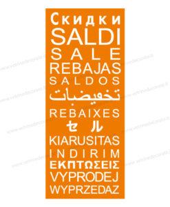pendente arancio con scritte saldi tradotte in varie lingue