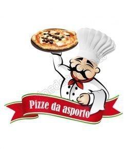adesivo con pizzaiolo con pizza