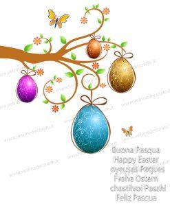 ramo con uova pasquali e farfalle