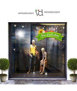 Vetrina-con-nastro verde con fiori e scritta new collection
