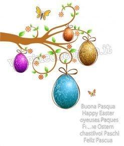 vetrofania albero con uova pasquali