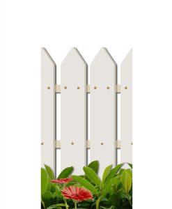 staccionata bianca con foglie e gerbere