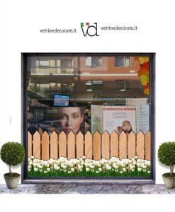 vetrina con staccionata in legno con tulipani bianchi