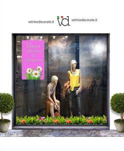 vetrina con pendente ciclamino e con scritta nuova collezione di primavera