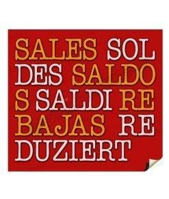 adesivo scritte saldi tradotte rosso