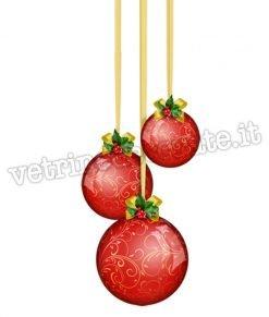 vetrofania con palle di natale rosse