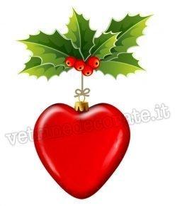 palla di natale con forma di cuore rosso in vetrofania