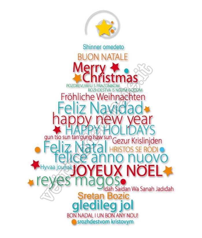 Immagini Natalizie Con Scritte.209 Albero Di Natale Con Scritte Augurali In Varie Lingue