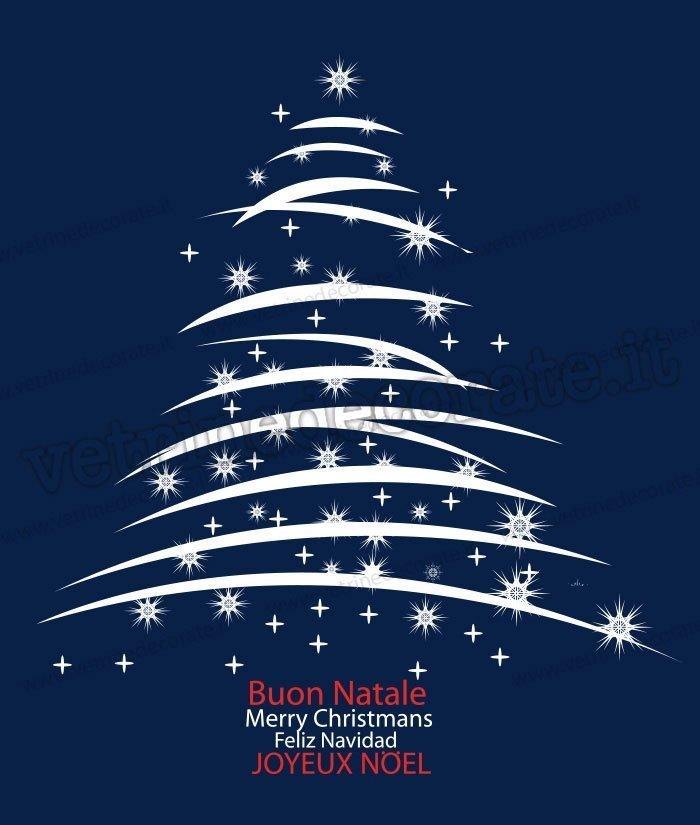Alberi Di Natale Per Auguri.Albero Di Natale Bianco Con Auguri In Varie Lingue In Adesivo E Vetrofania