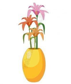vetrofania vaso giallo con fiori