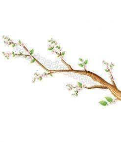 vetrofania ramo con fiori e foglie verdi