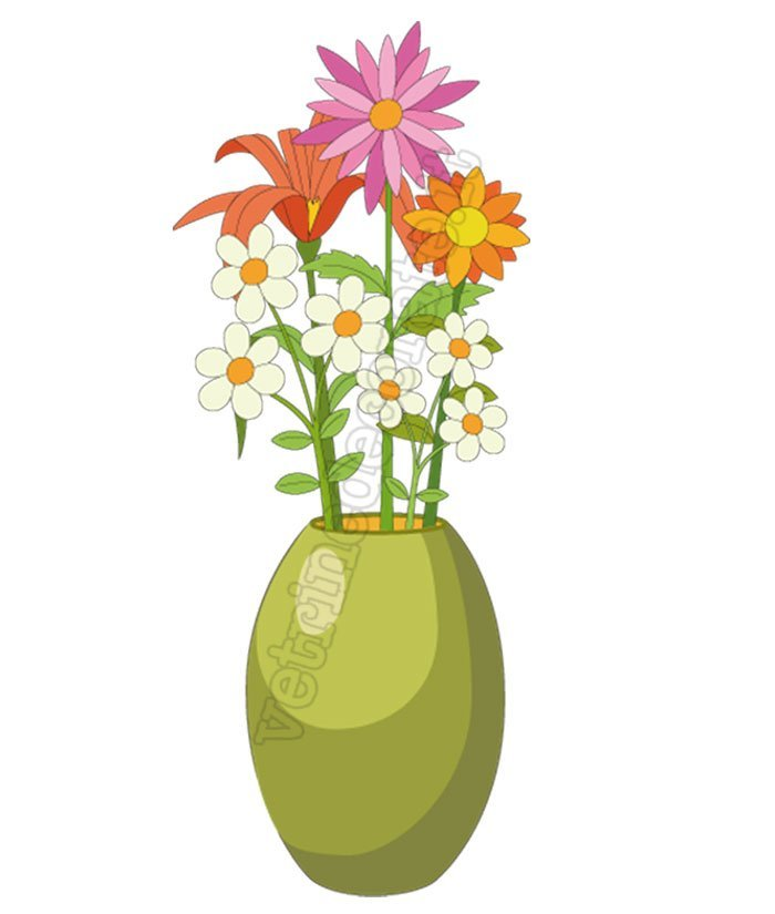 Vaso Fiori.Green Vase With Flowers In Various Colours And Sizes