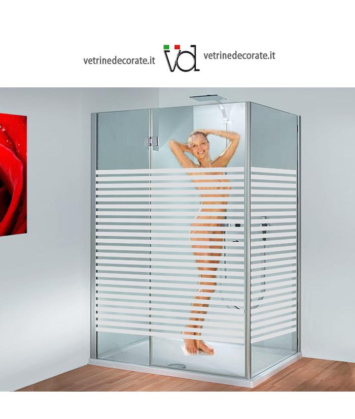 Box doccia con decorazione sabbiata con fasce fine for Adesivi per box doccia