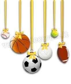 vetrofania con palle da gioco come palle di Natale