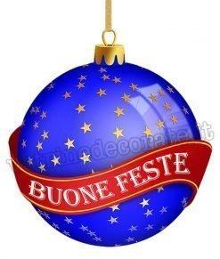 vetrofania palla di natale buone feste colore blu