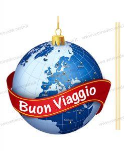 palla natalizia con mondo blu e fascia rossa
