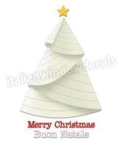 adesivo con albero di natale con foglio di carta