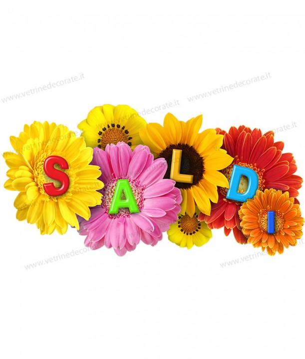 Decorazione vetrina saldi estivi colorati