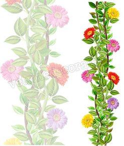 vetrofania gerbere e foglie