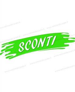 pennellata verde con scritta sconti