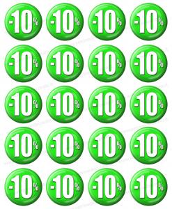 piccoli bollini sconto con percentuale del -10%