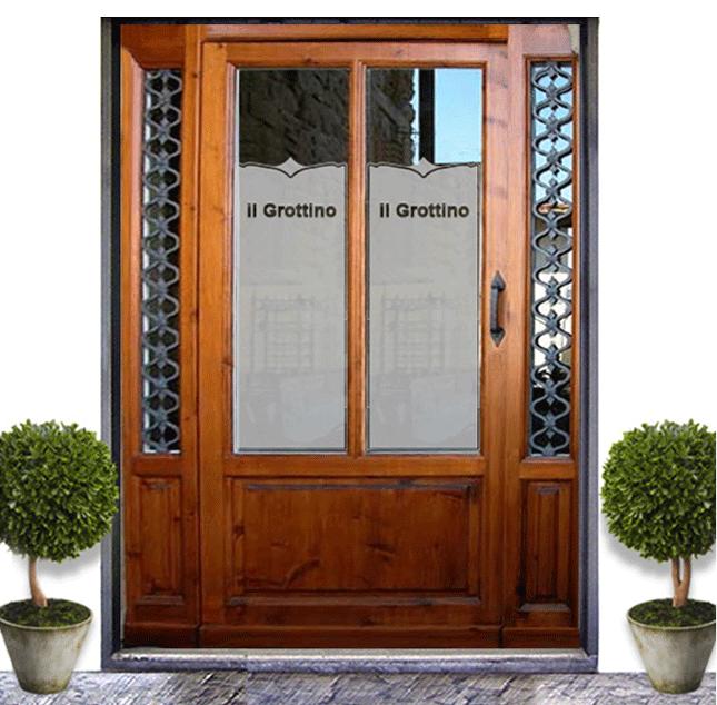 Porta ristorante con vetri sabbiati adesivi e vetrofanie per vetrine - Decorazioni primaverili per finestre ...