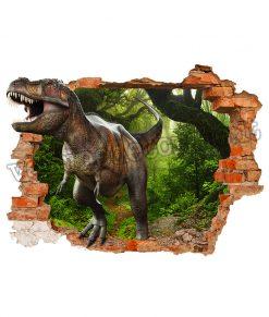 adesivo murale con dinosauro T-rex etra attraverso un buco