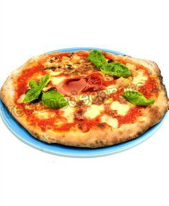 Pizza tonda capricciosa su piatto