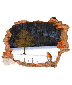 finto buco con paesaggio invernale e un pettirosso