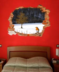 finto buco in camera da letto con paesaggio invernale e un pettirosso