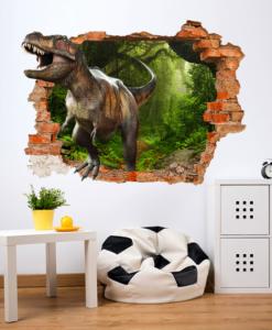 Buco nella parete dal quale entra un dinosauro